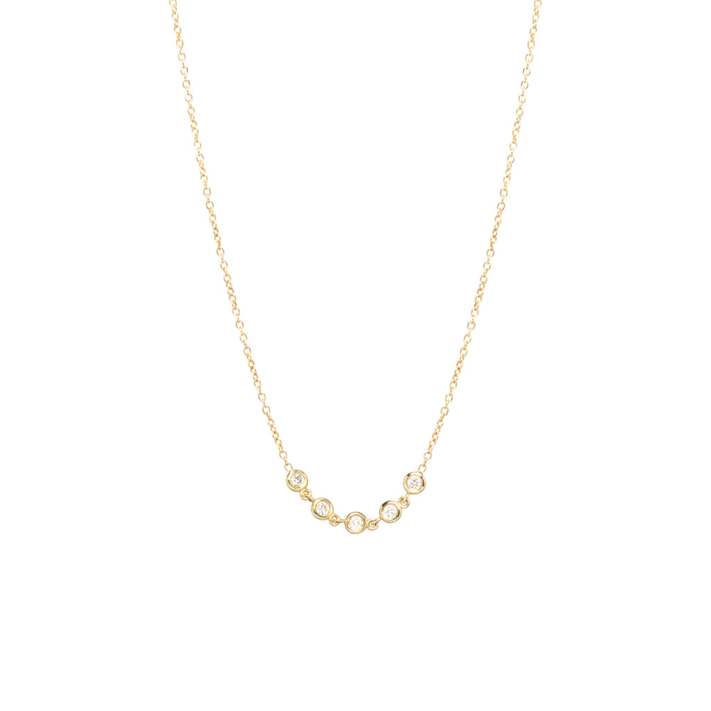 Zoë Chicco 14kt Yellow Gold Floating Diamond Curved Bar Necklace