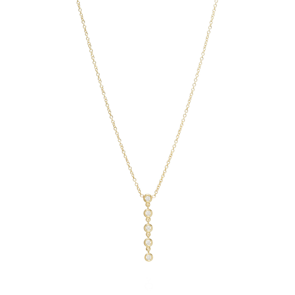 Zoë Chicco 14kt Yellow Gold 5 Linked Floating White Diamonds Y Necklace