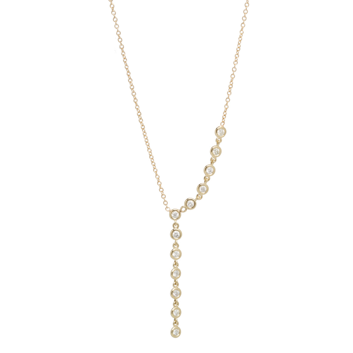 14k 12 linked floating diamonds lariat
