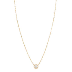 14k long single floating diamond necklace