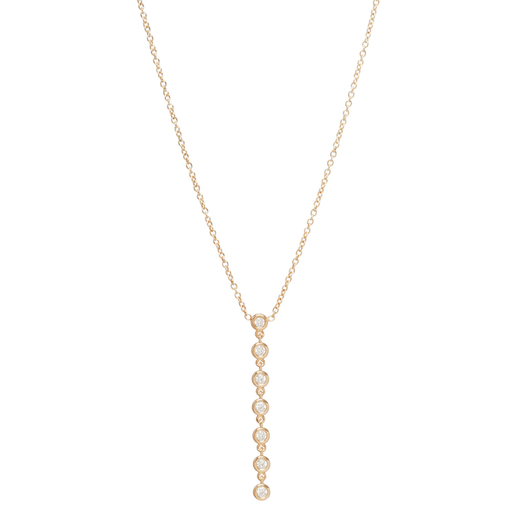 Zoë Chicco 14kt Gold 7 Linked Floating Diamonds Y Necklace