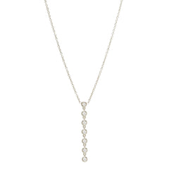 Zoë Chicco 14kt White Gold 7 Linked Floating Diamonds Y Necklace