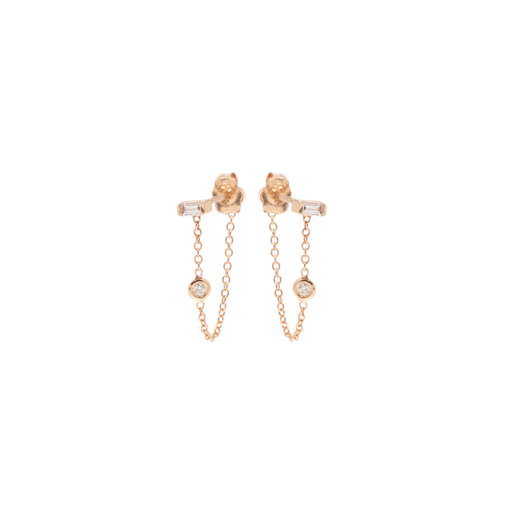 14k baguette and floating diamond chain stud earrings