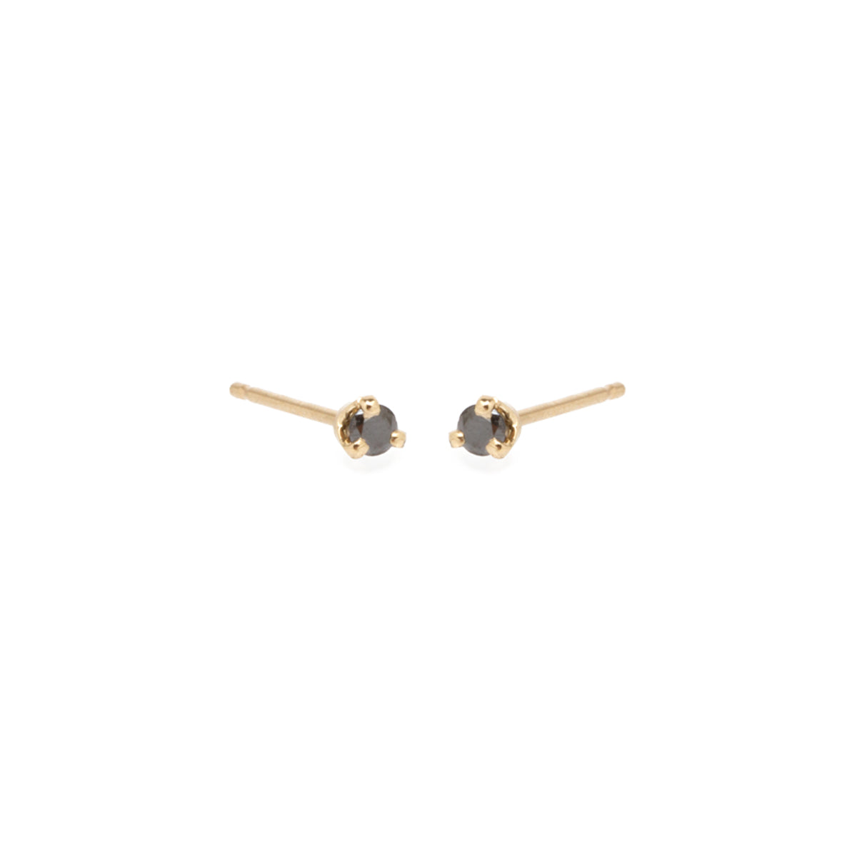 14k black diamond prong stud earrings