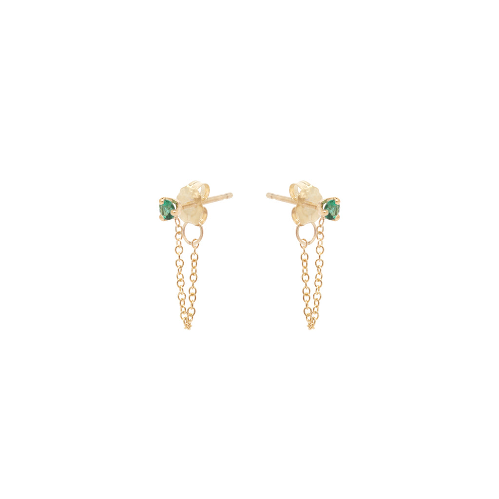 14k prong set emerald chain stud earrings