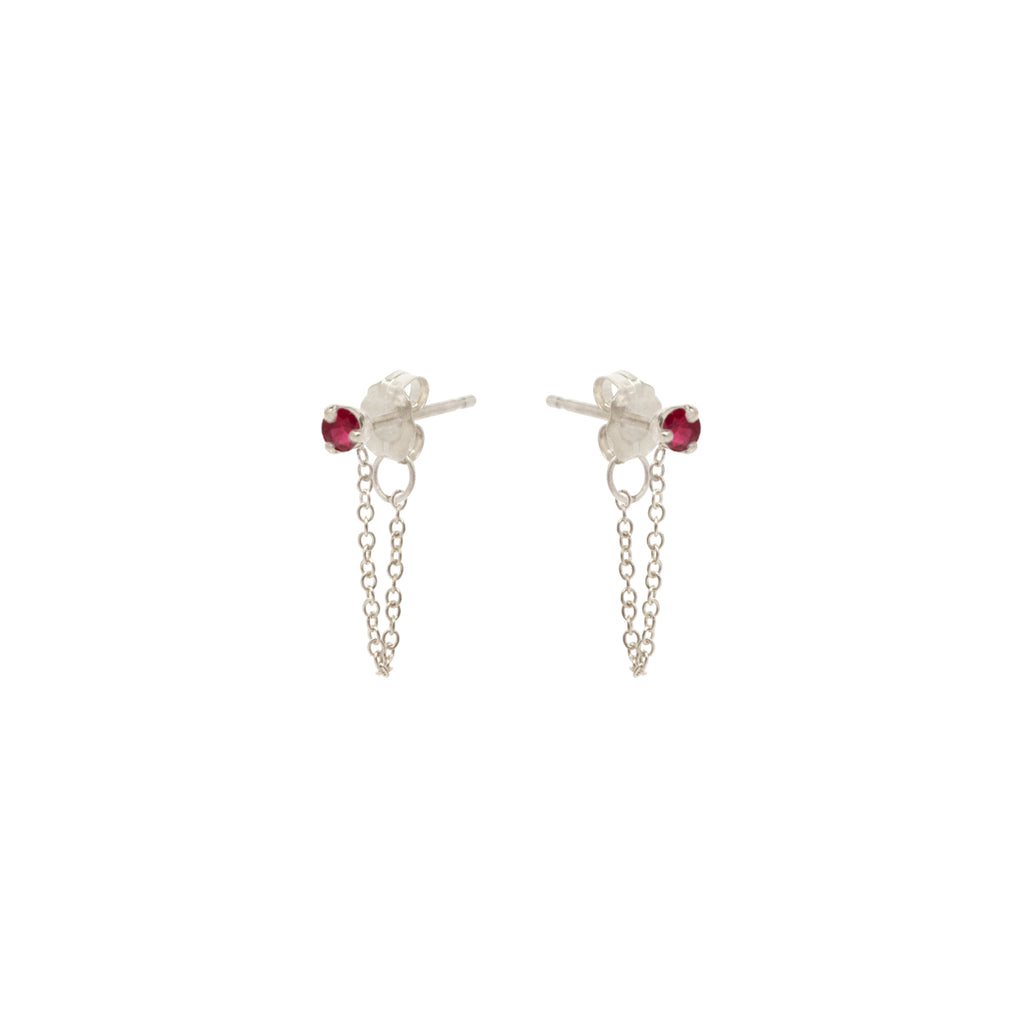 14k prong set ruby chain stud earrings