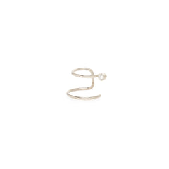 14k single diamond double ear cuff