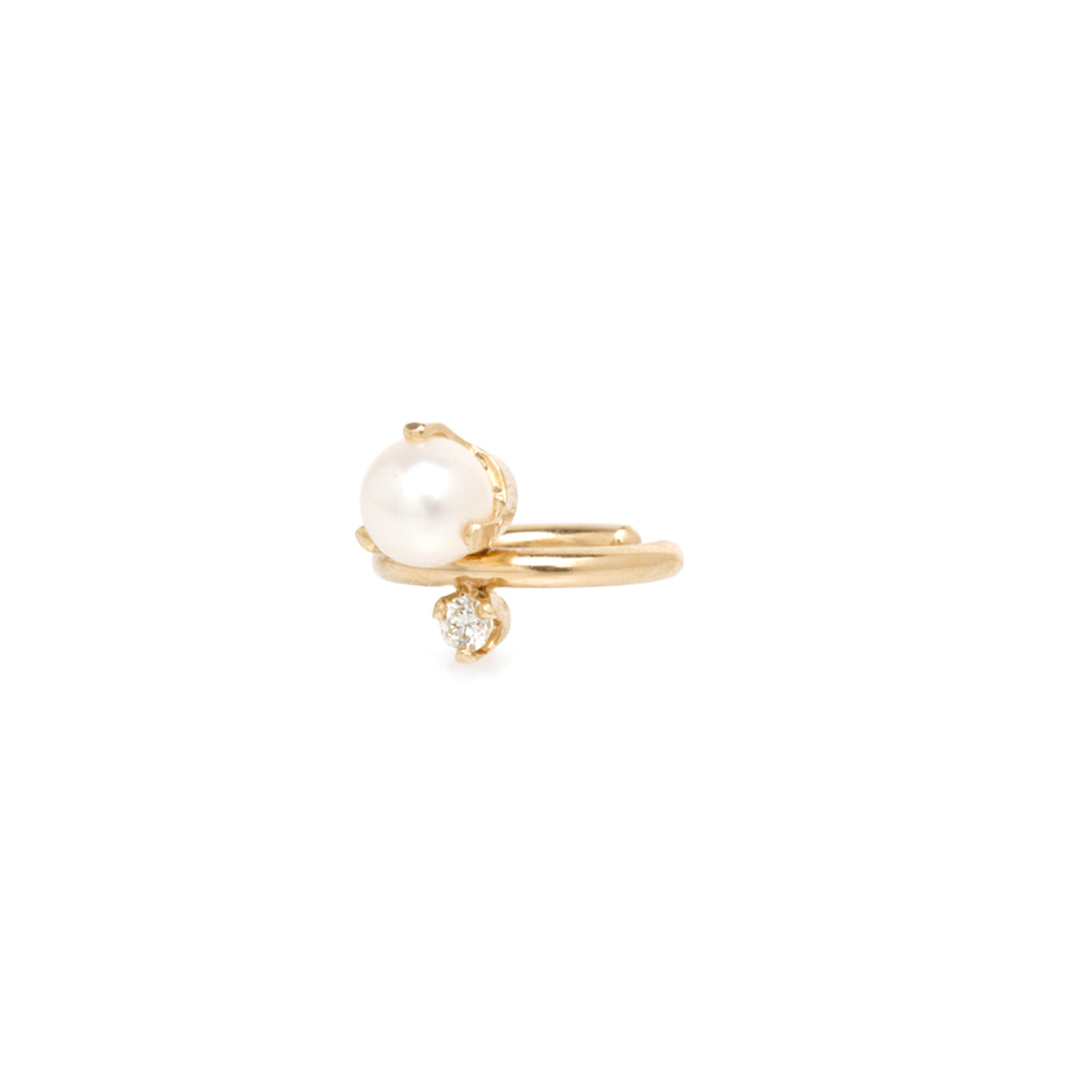 14k diamond prong ear cuff with pearl