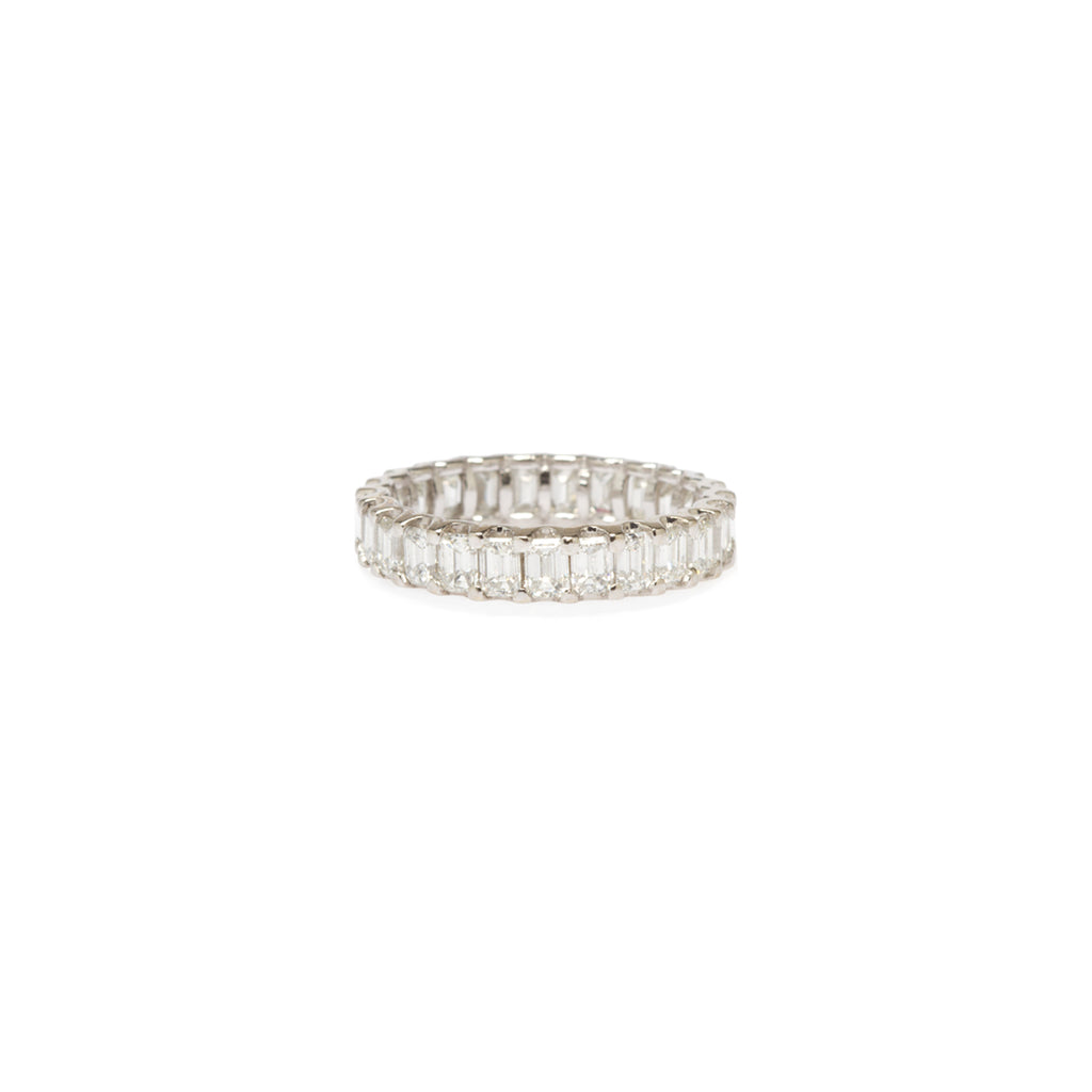 14k prong set emerald cut diamond eternity band