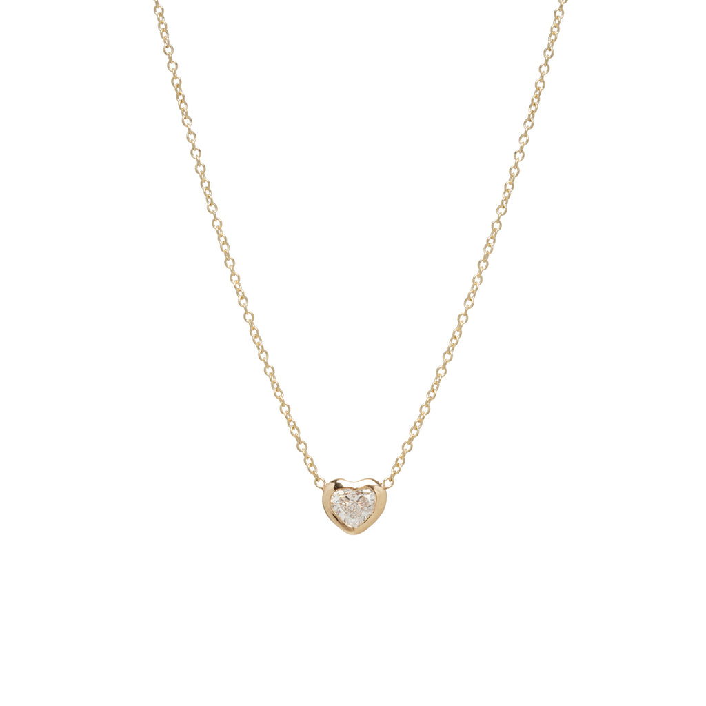 14k floating diamond heart necklace