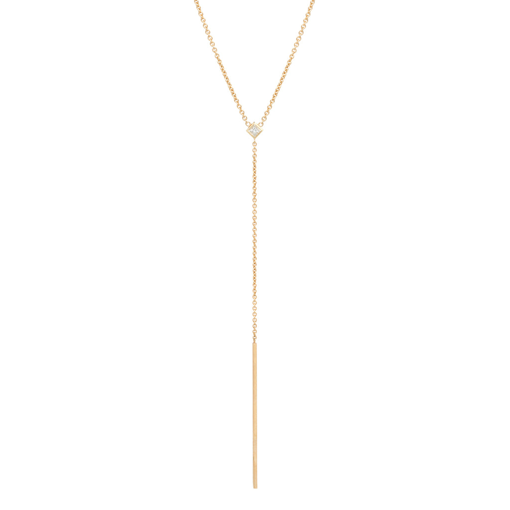 14k princess diamond lariat necklace