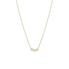 Zoë Chicco 14kt Yellow Gold 3 Graduated Bezel Set Opal & Diamond Necklace