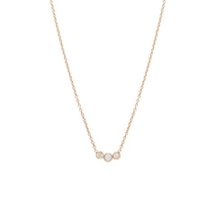 Zoë Chicco 14kt Rose Gold 3 Graduated Bezel Set Opal & Diamond Necklace