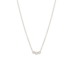 Zoë Chicco 14kt White Gold 3 Graduated Bezel Set Opal & Diamond Necklace