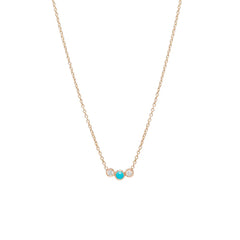 14k graduated bezel turquoise & diamond necklace