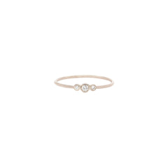 14k small graduated bezel diamond ring