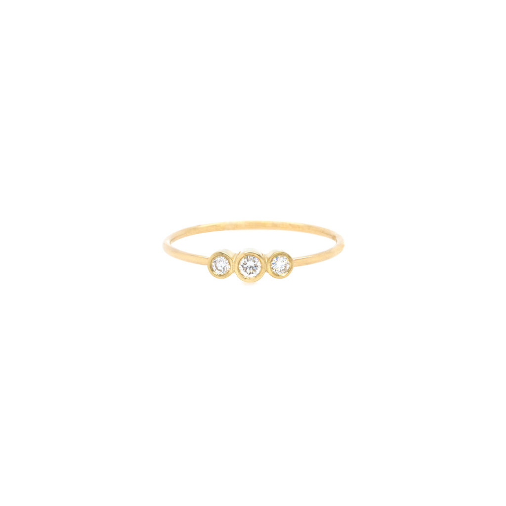 14k graduated bezel diamond bar ring