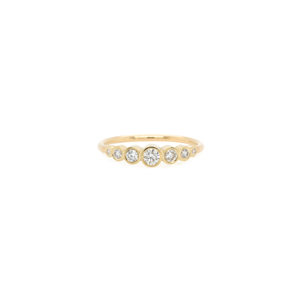 14k five graduated bezel diamond ring