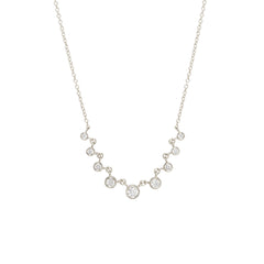 14k linked 9 graduated bezel diamond necklace