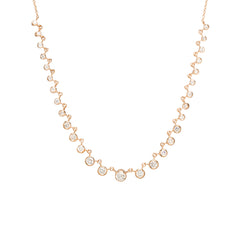 14k linked graduated bezel diamond tennis necklace