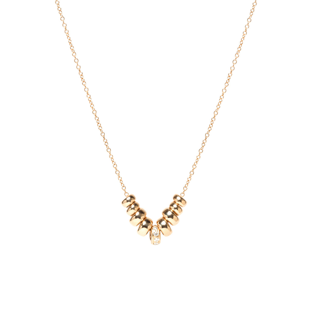 14k gold 9 rondelle necklace with pave diamonds