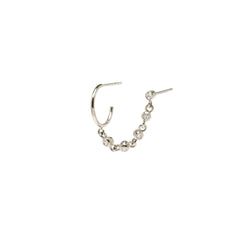 14k eternity bezel chain double piercing huggie hoop & stud earring