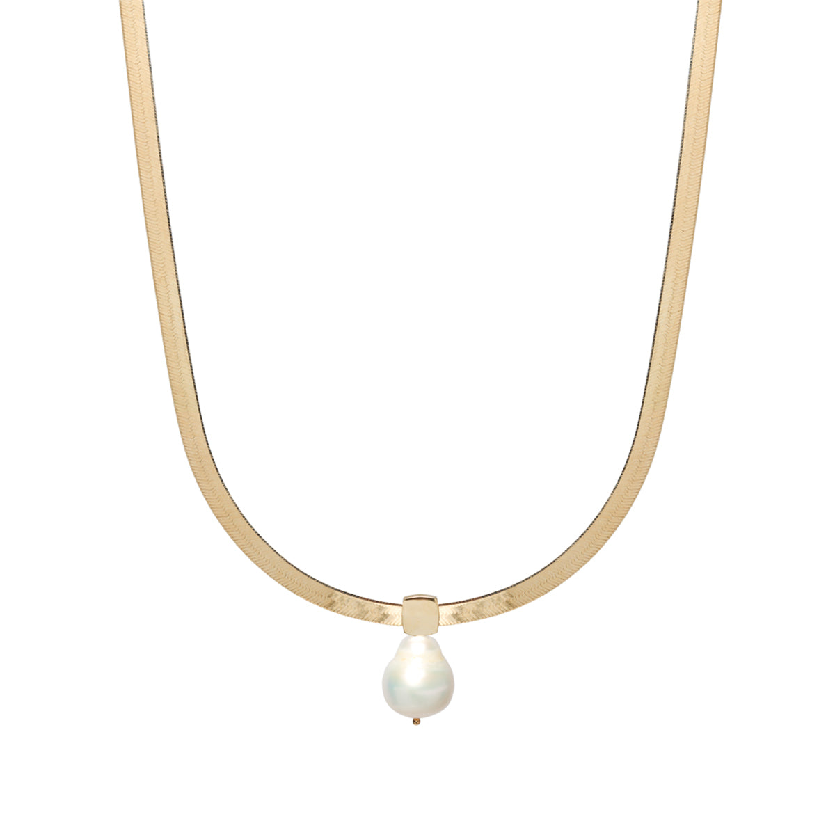 14k gold herringbone chain necklace with baroque pearl slide