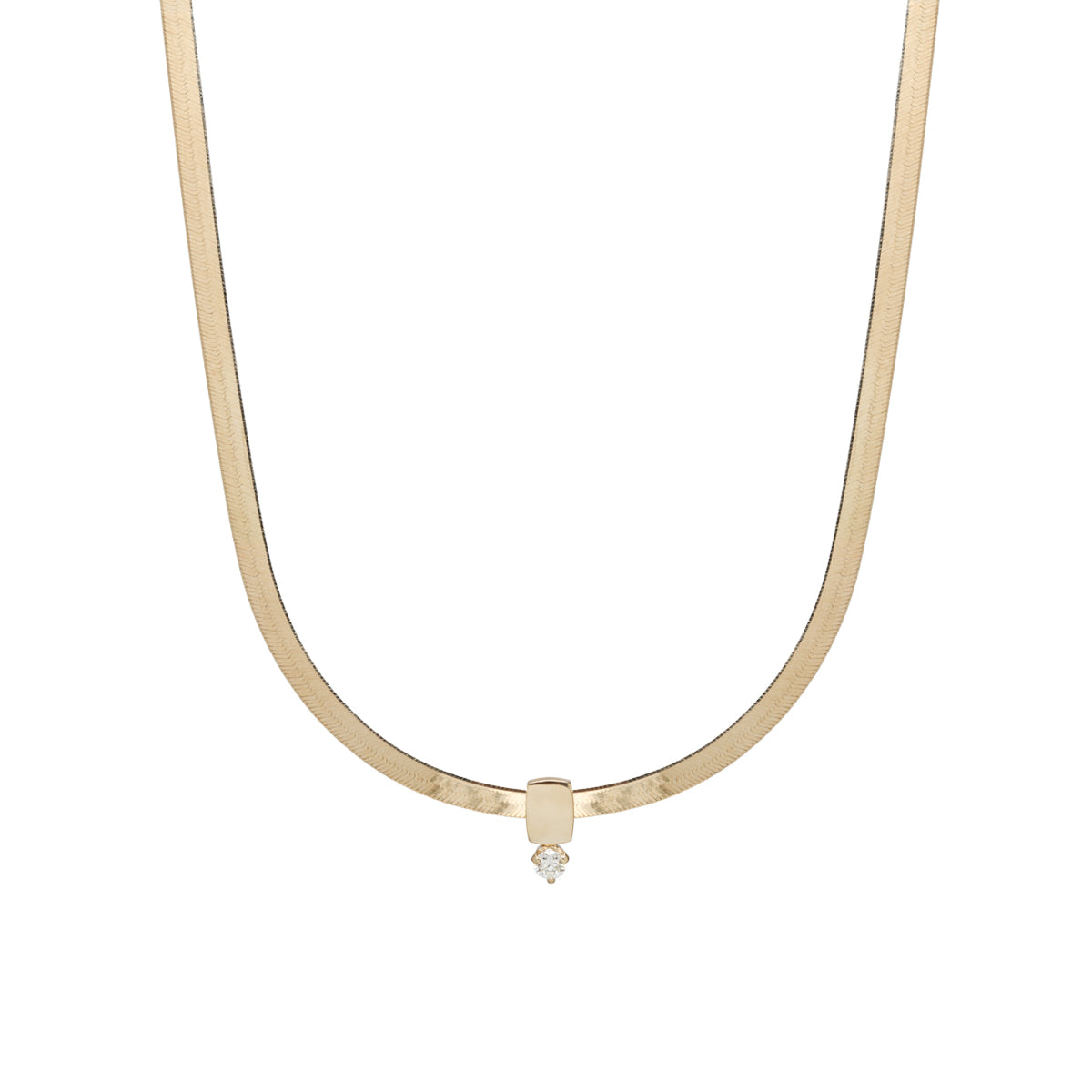 14k gold herringbone chain necklace with prong set diamond slide