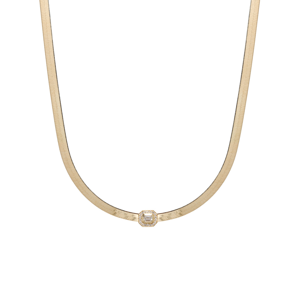 14k gold herringbone chain necklace with emerald diamond slide