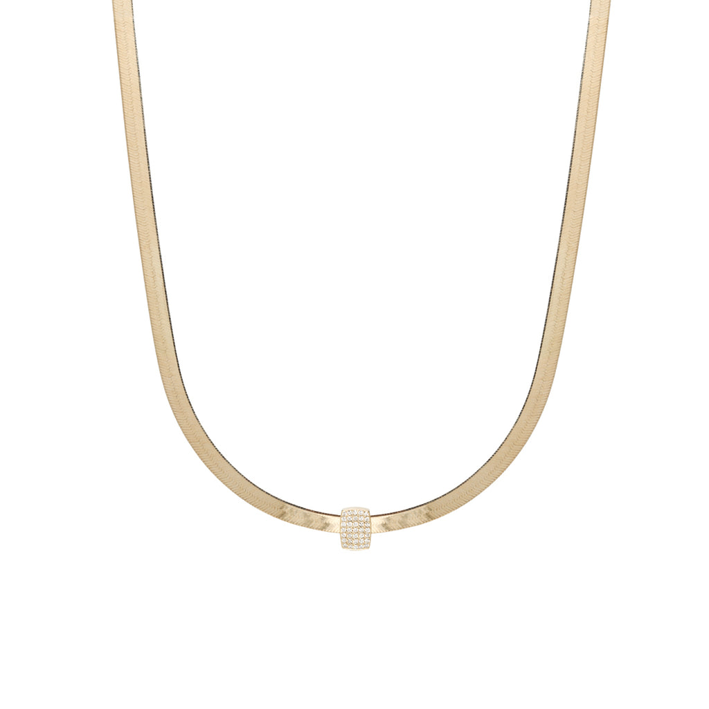 14k gold herringbone chain necklace with pave diamond slide