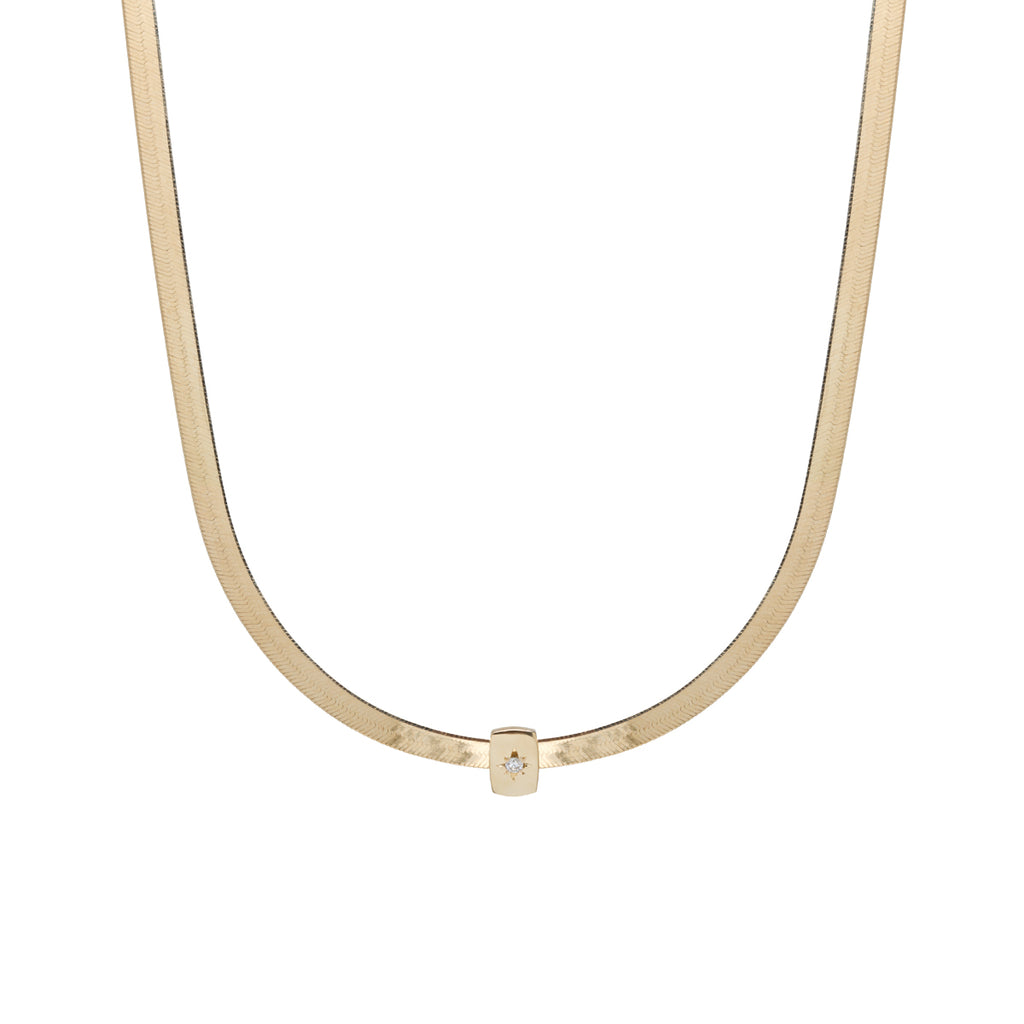 14k gold herringbone chain necklace with bead set diamond slide