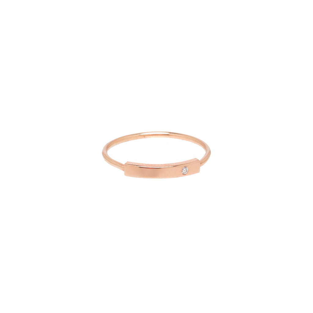 Zoë Chicco 14kt Yellow Gold Horizontal Diamond Bar Ring