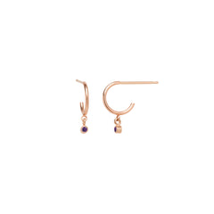 14k dangling amethyst huggie hoops | February BIRTHSTONE