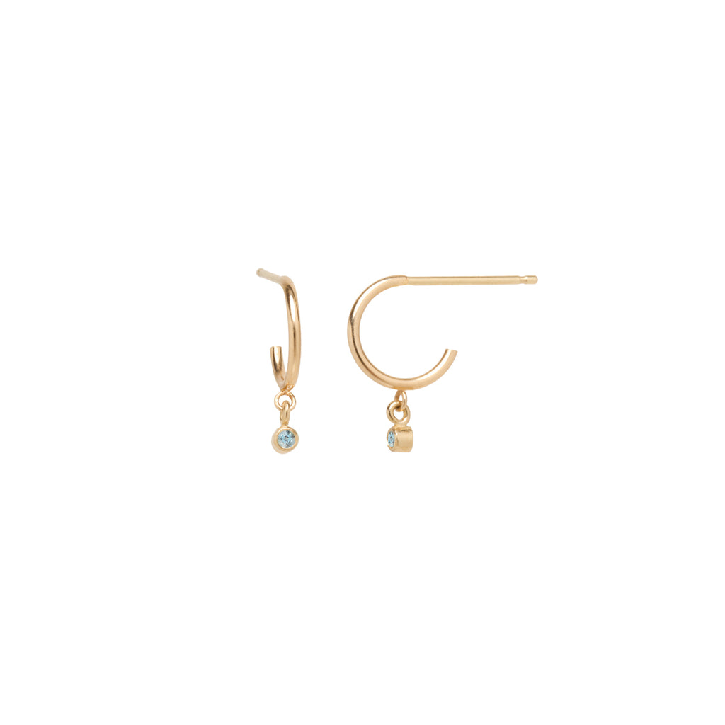 14k dangling aquamarine huggie hoops | March BIRTHSTONE
