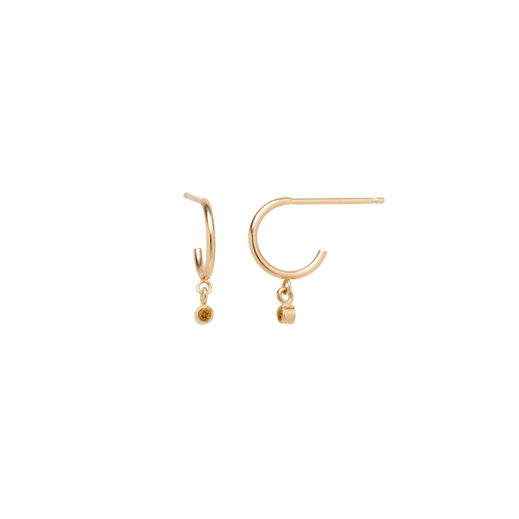 14k dangling citrine huggie hoops | November BIRTHSTONE