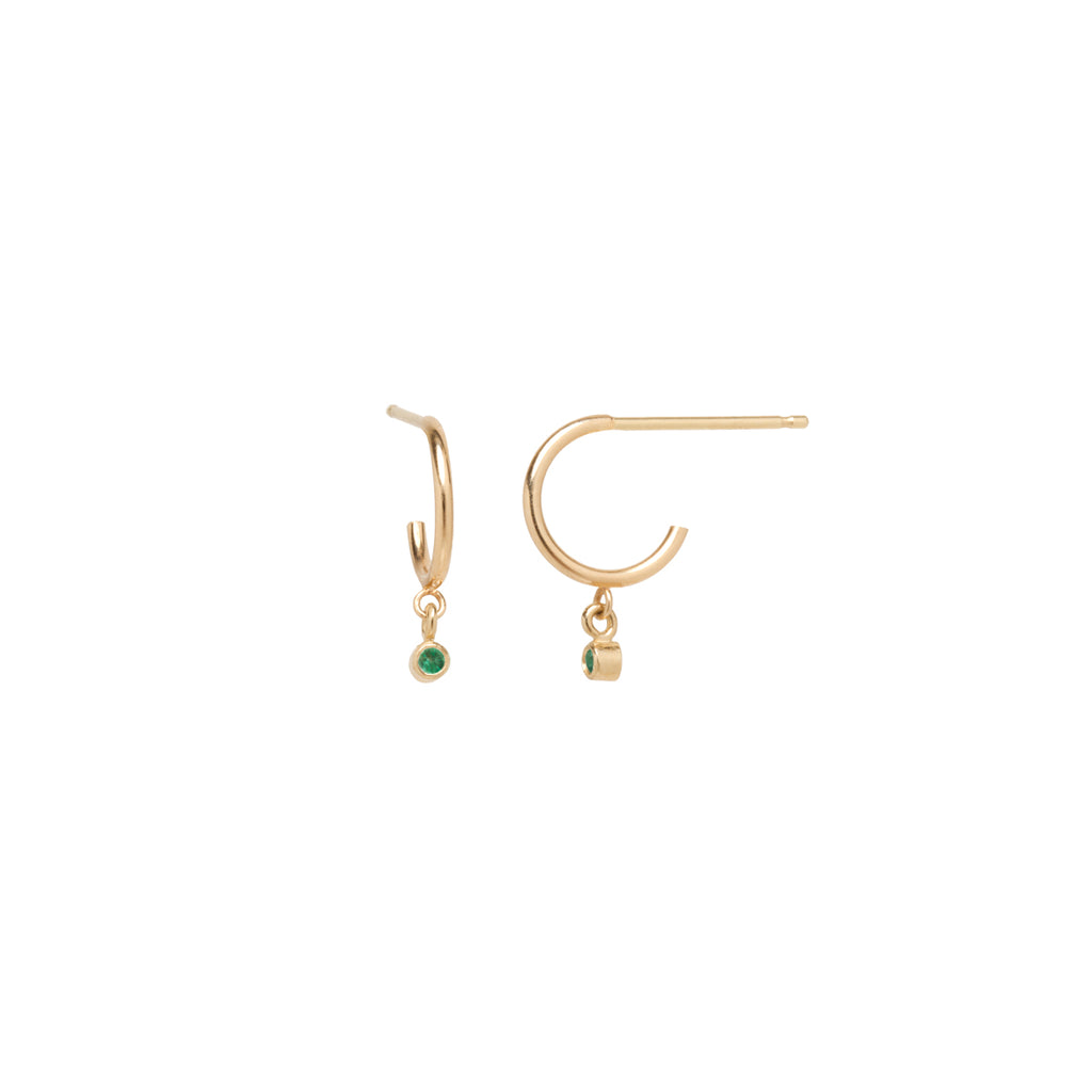 14k dangling emerald huggie hoops | MAY BIRTHSTONE