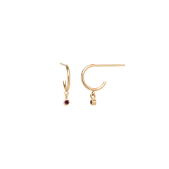 14k dangling garnet huggie hoops | January BIRTHSTONE