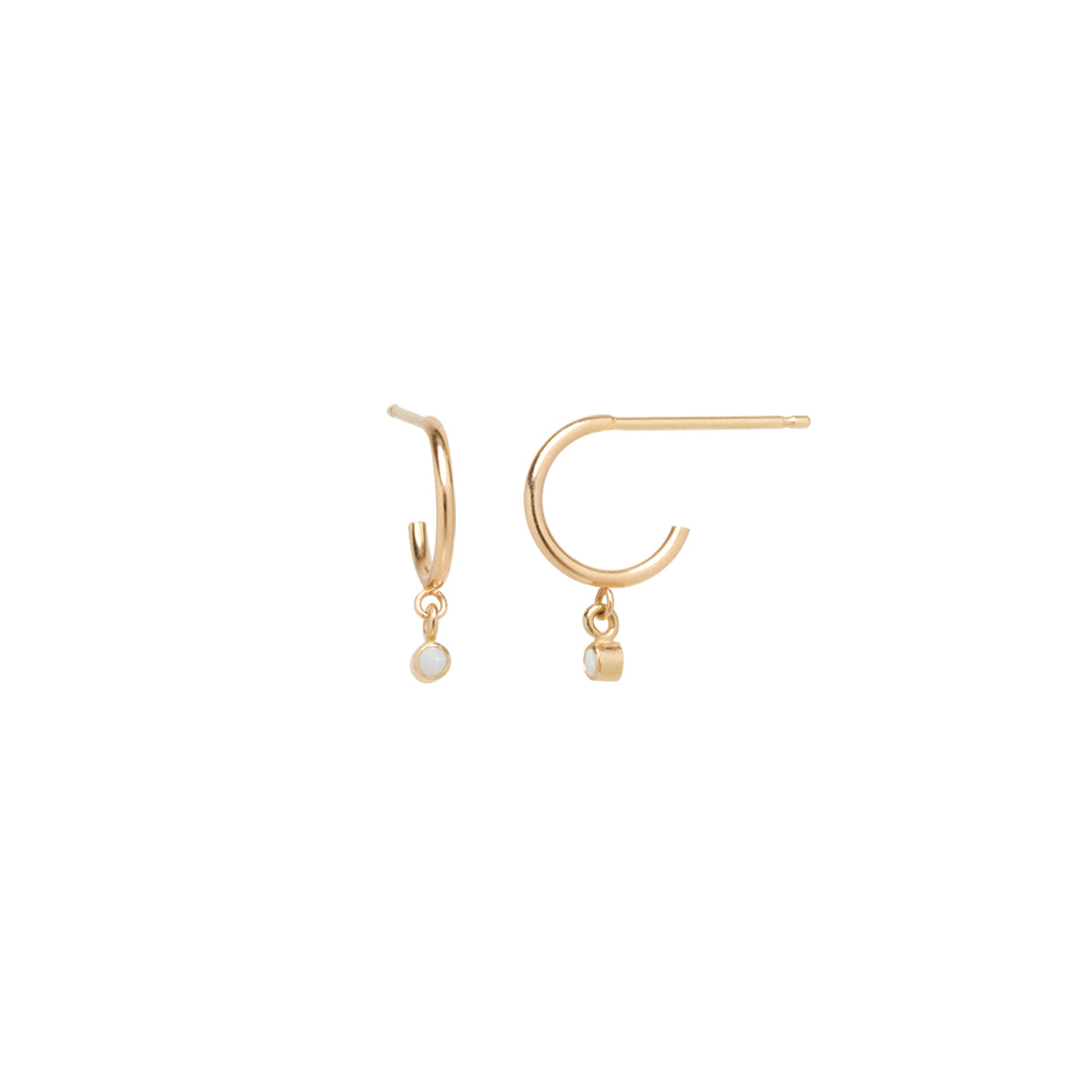 14k dangle bezel opal thin huggie hoops | OCTOBER BIRTHSTONE