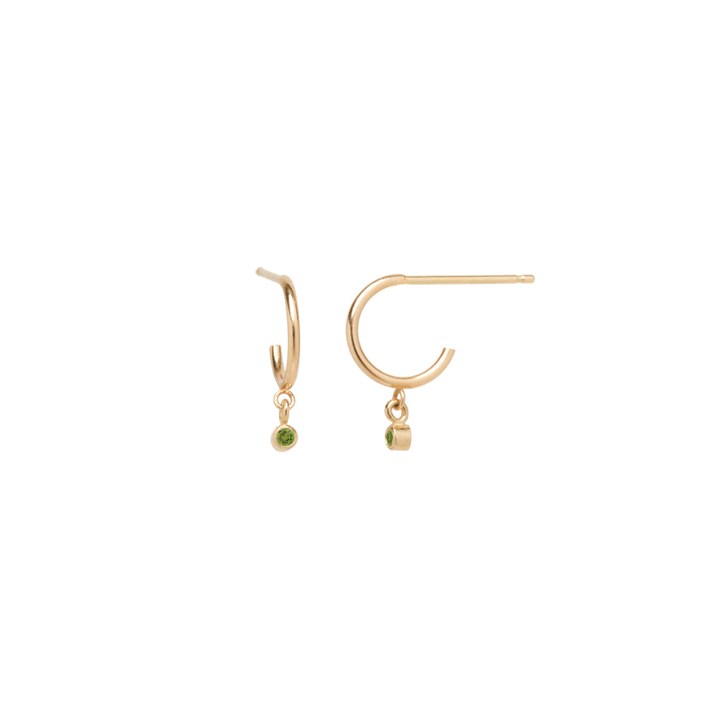 14k dangling peridot huggie hoops | August BIRTHSTONE