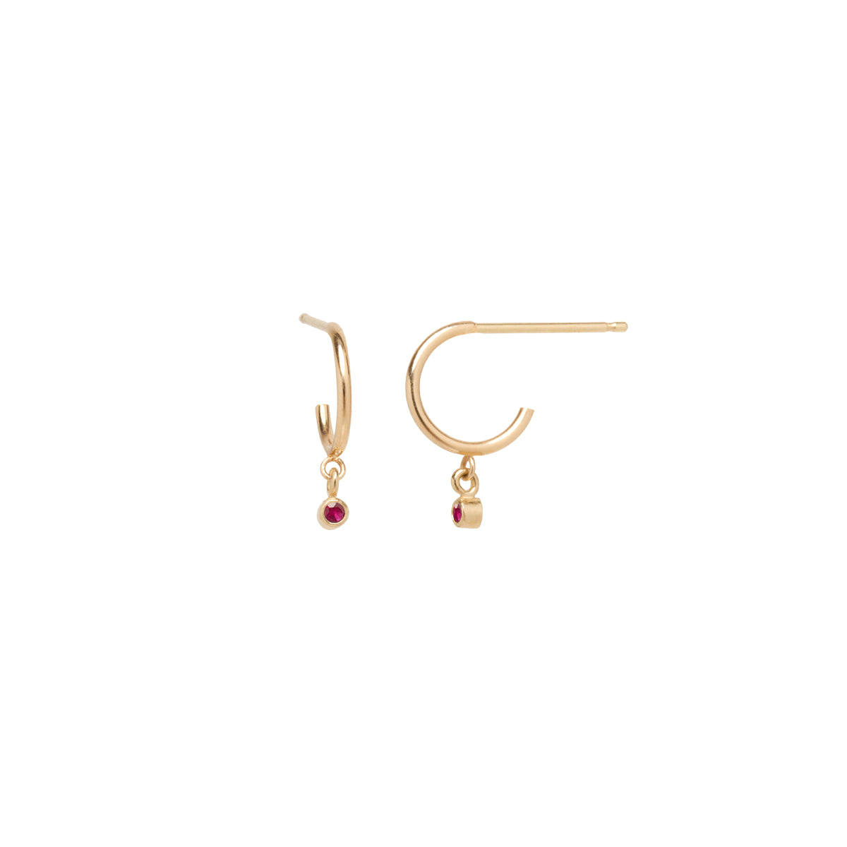 14k dangling ruby huggie hoops | JULY BIRTHSTONE