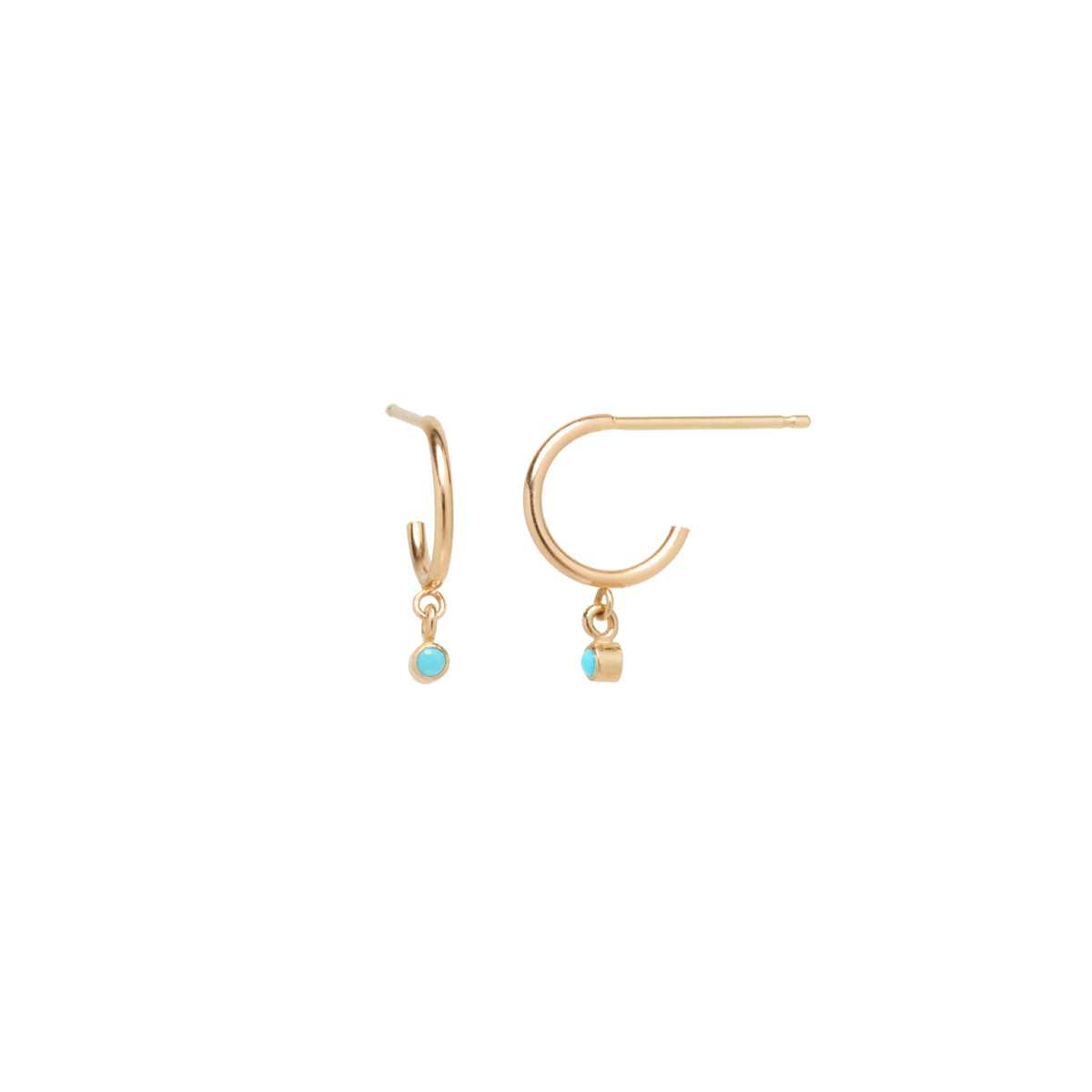 14k dangle bezel turquoise thin huggie hoops | DECEMBER BIRTHSTONE