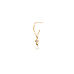 14k dangling diamond & tiny pearl thin huggie hoops