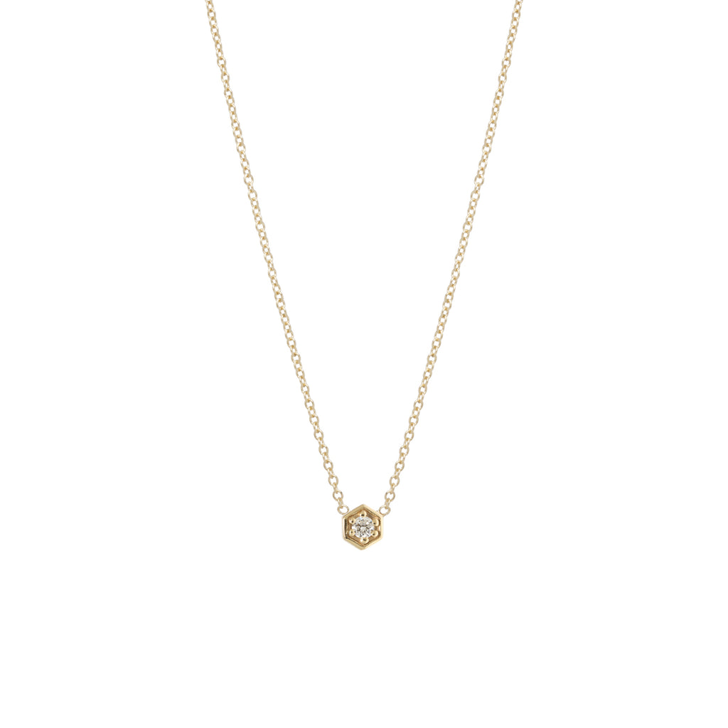 14k gold diamond hexagon necklace