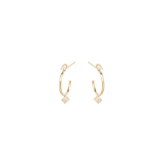 14k prong & princess diamond stud thin huggie hoops
