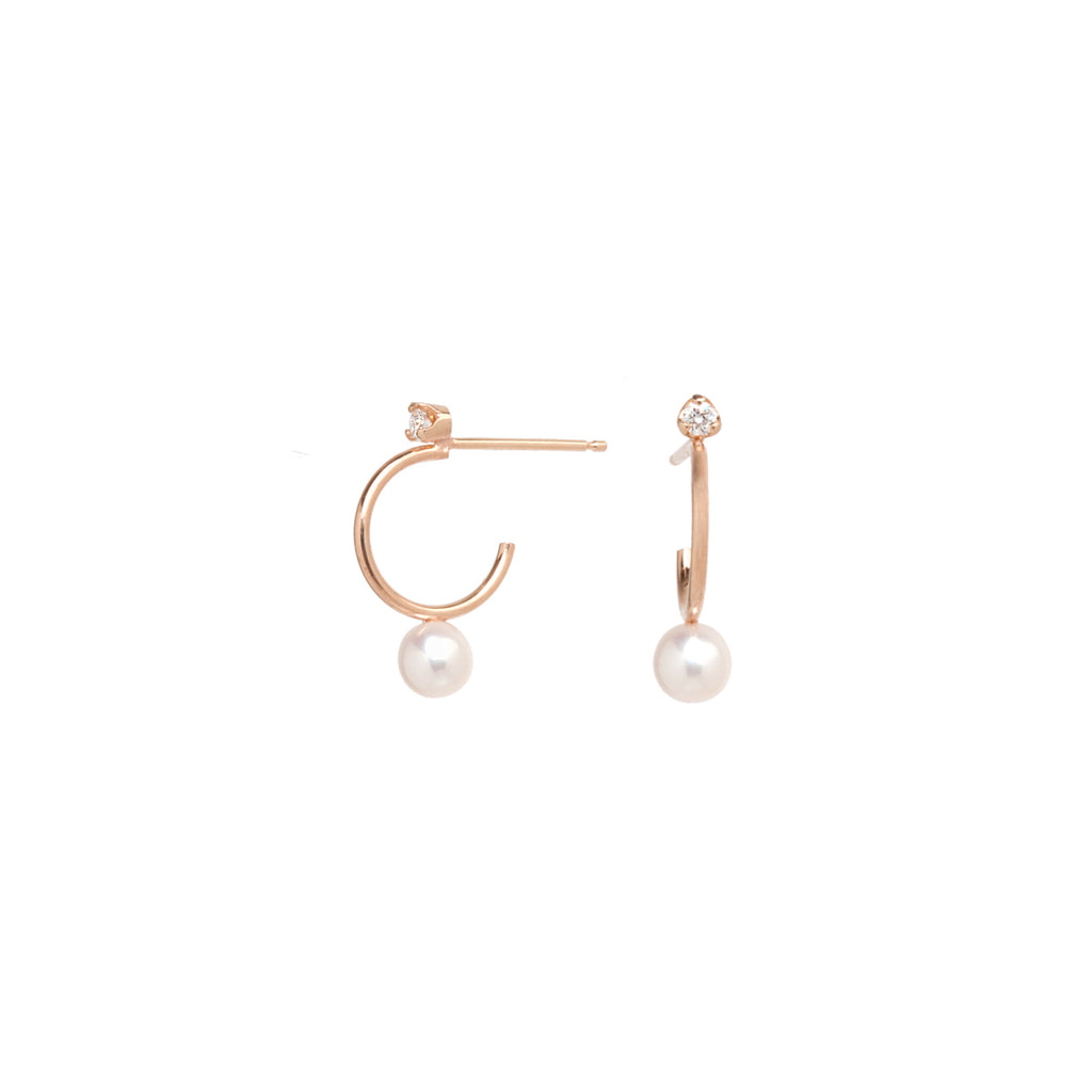 14k pearl and diamond stud thin huggie hoops