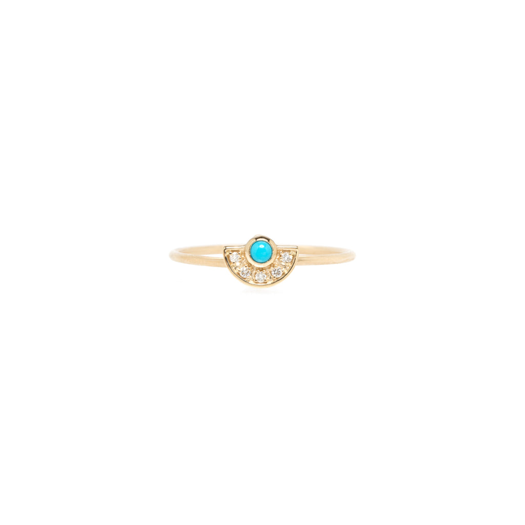 14k turquoise and diamond horizon fan ring