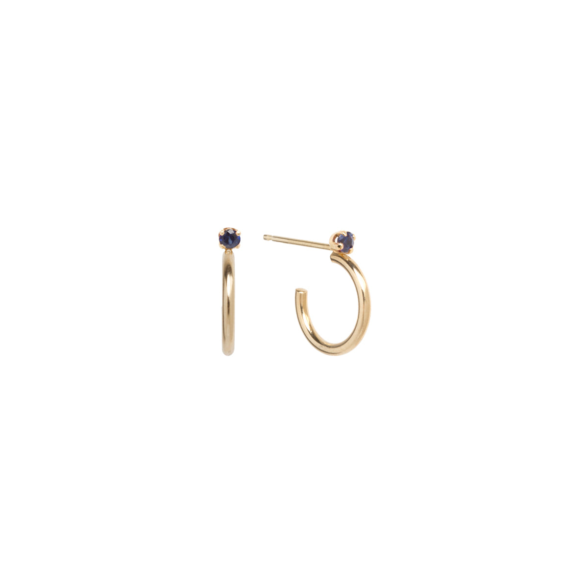 14k Thick Huggie Hoops with Prong Set Sapphires