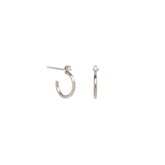 14k thick huggie hoops with prong diamond