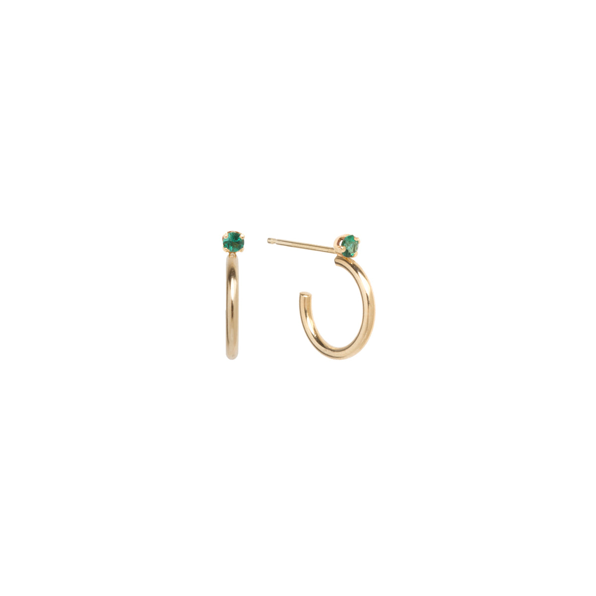 14k Thick Huggie Hoops with Prong Set Emeralds