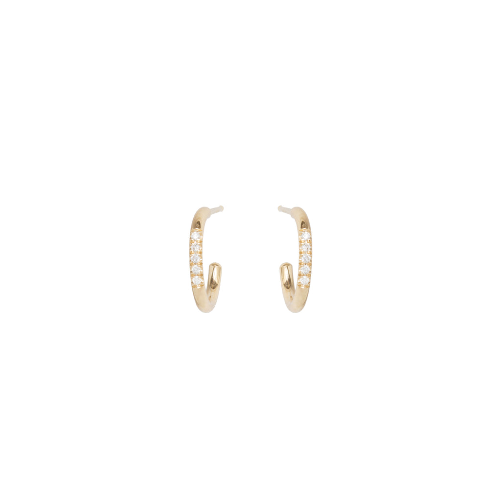 14k thick huggie hoops with 5 white pave diamonds